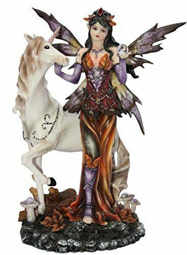 Standing Autumn Fairy with Unicorn Display Figurine Statue Ornament