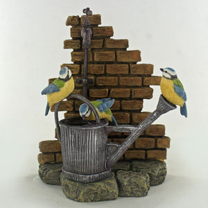 Collectable Blue Tits Drinking from a Watering Can Bird Ornament Home Decoration