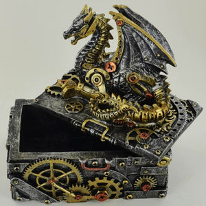 Steampunk Dragon Trinket Box Ornament Statue Sculpture for Office Study