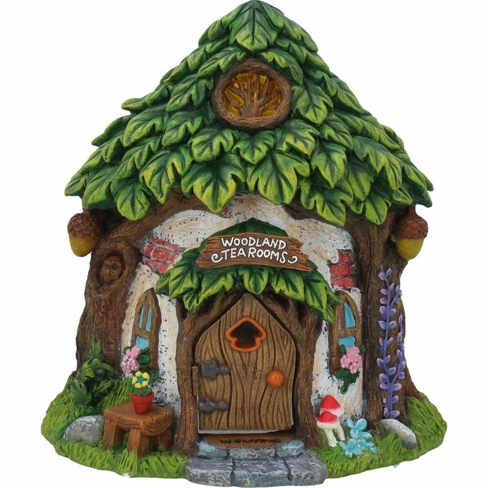 Fairy Woodland Tea Room with a Leaf Thatch Pixie Goblin Fantasy Garden Gift