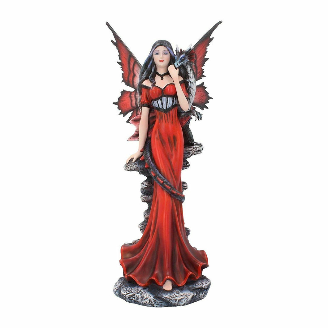 Large Red Dress Fairy with Dragon Companion Statue Sculpture Figurine Gift