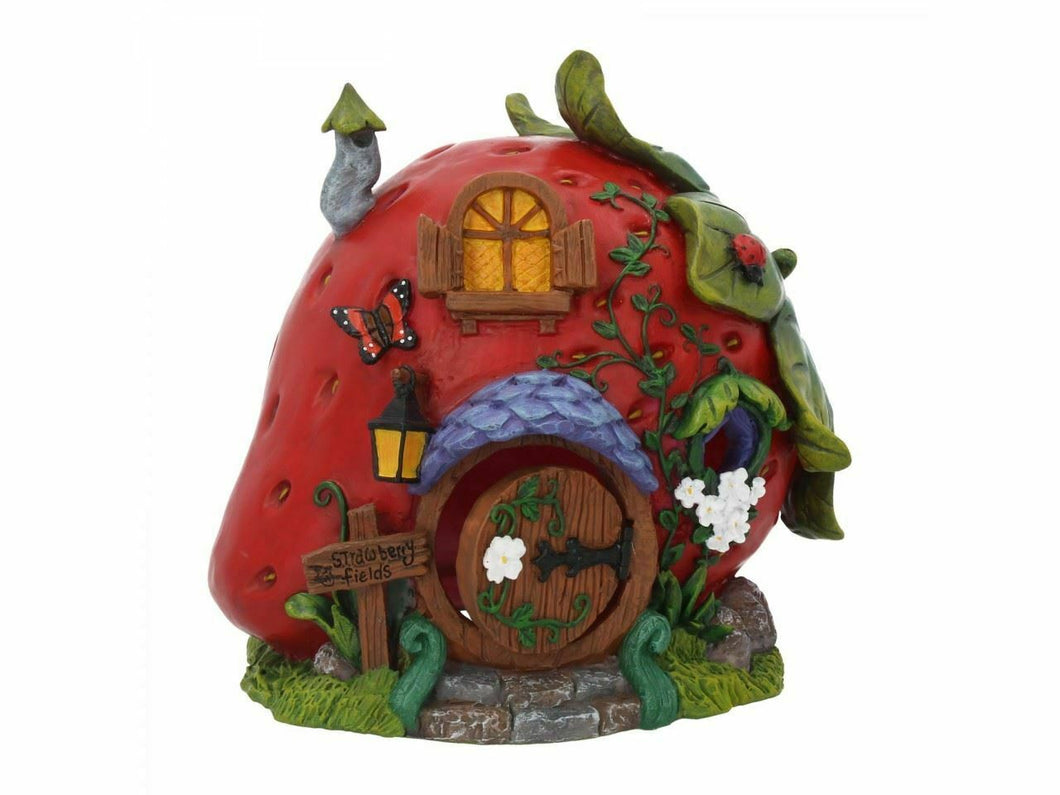 Magical Fairy House Strawberry Fields Pixie Home Mystical Garden Ornament Elf