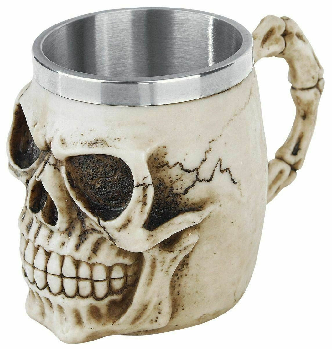 Grinning Skull Tankard Gothic Cup Skeleton Horror Decoration