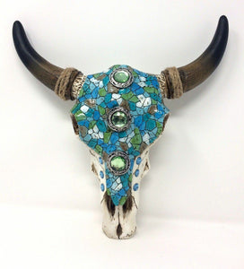 Western Style Mosaic Effect Cow Skull Wall Plaque