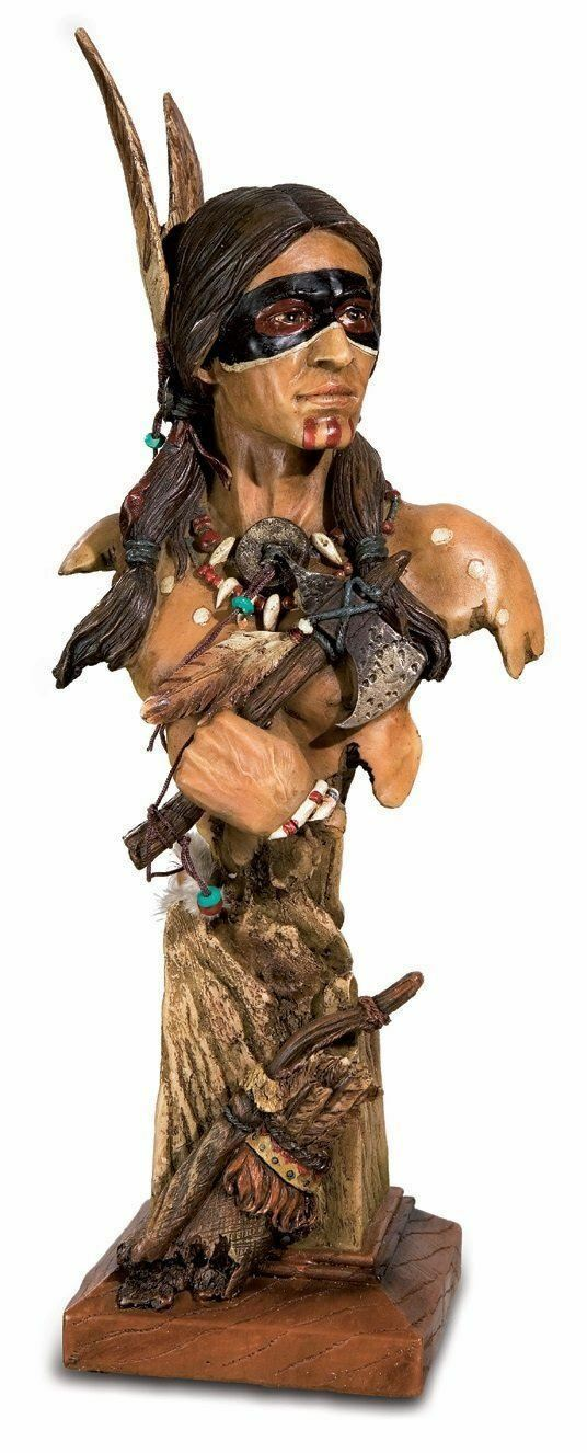 Realistic Effect Native American Indian Bust Statue Sculpture