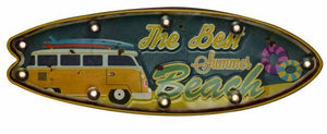 Vintage Metal 3D LED Sign Beach Surf Vacation Camper Van Man Cave Wall Plaque