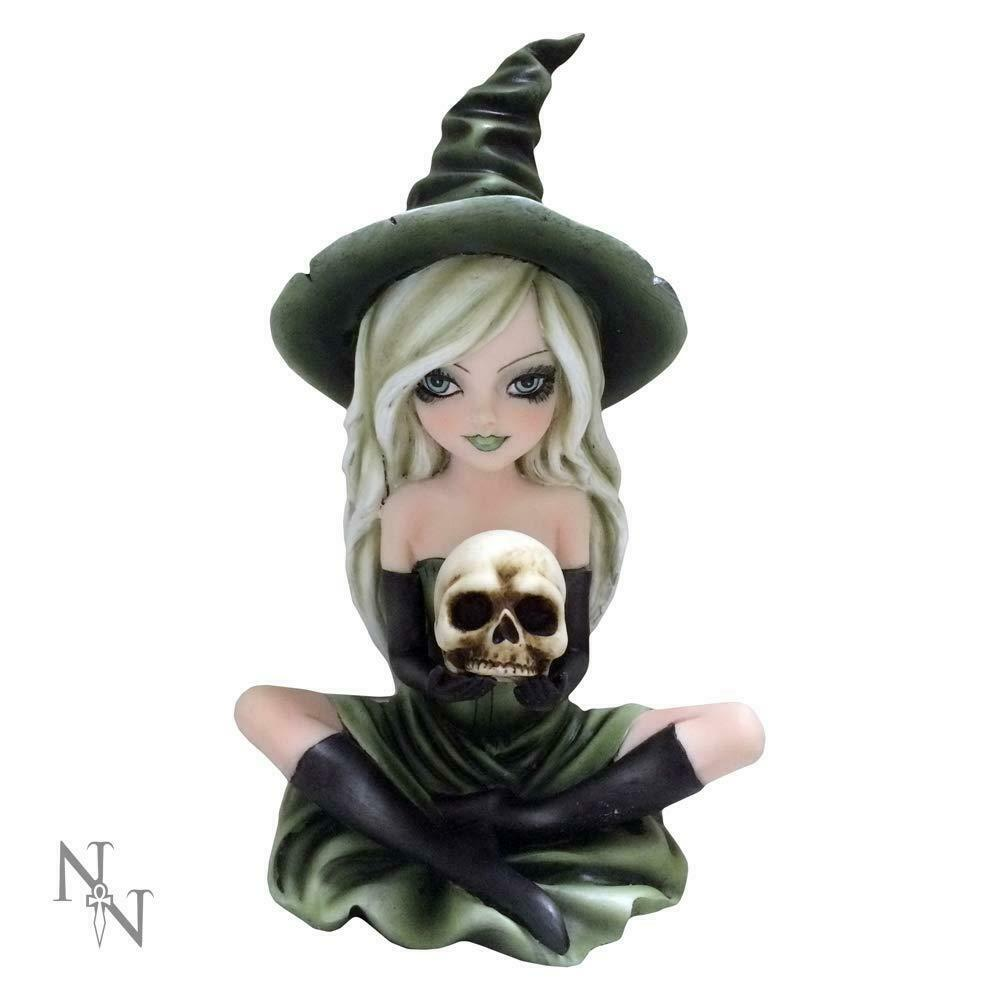 Witch Holding Skull Figurine Witchcraft Ornament Statue Wiccan Pagan Gift