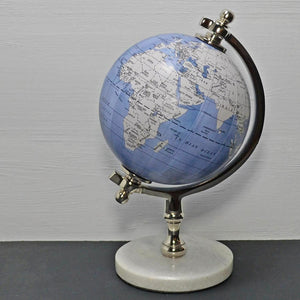 "World Globe in Light Blue 5"" with Marble Base Map Study Geography Ornament"