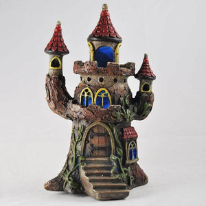 Magic Castle House Mystical Garden Ornament Elf Pixie Home with LED Lights