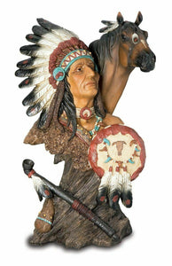 Realistic Effect Native American Indian and Horse Bust Statue Sculpture