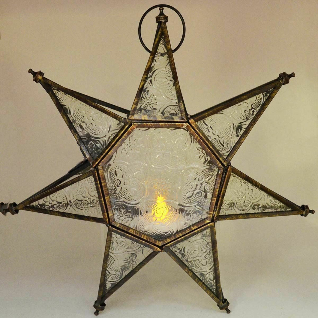 Antique Effect Moroccan Style Lantern Star Tea Light Candle Holder Ornament