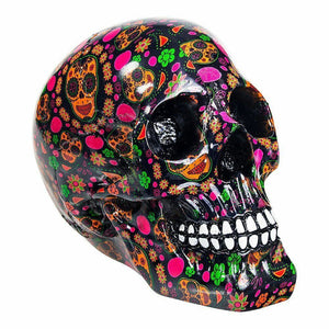 Colourful Designer Skull Ornament Figurine Gothic Gift Decor 19cm