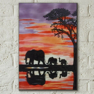 Elephants Sunset Esther Marshall Decorative Ceramic Tile 8 x 12 Wall Art Plaque