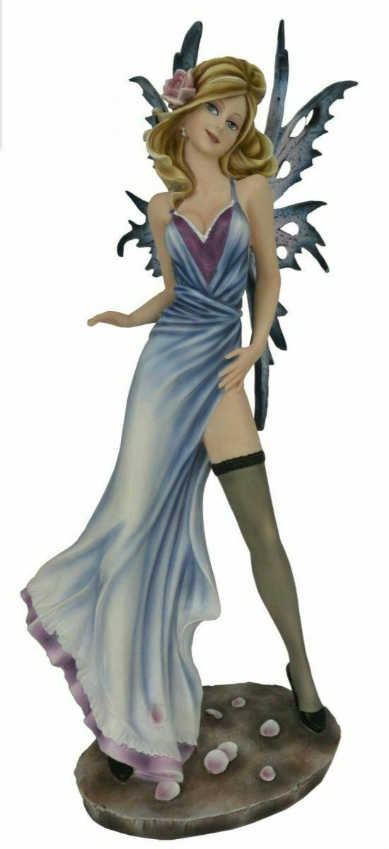 Large Seductive Fairy Wearing Blue Dress Display Figurine Statue Ornament 50 cm
