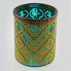 Moroccan Glass Tealight Holder Candle Green Blue Unique Home Lighting