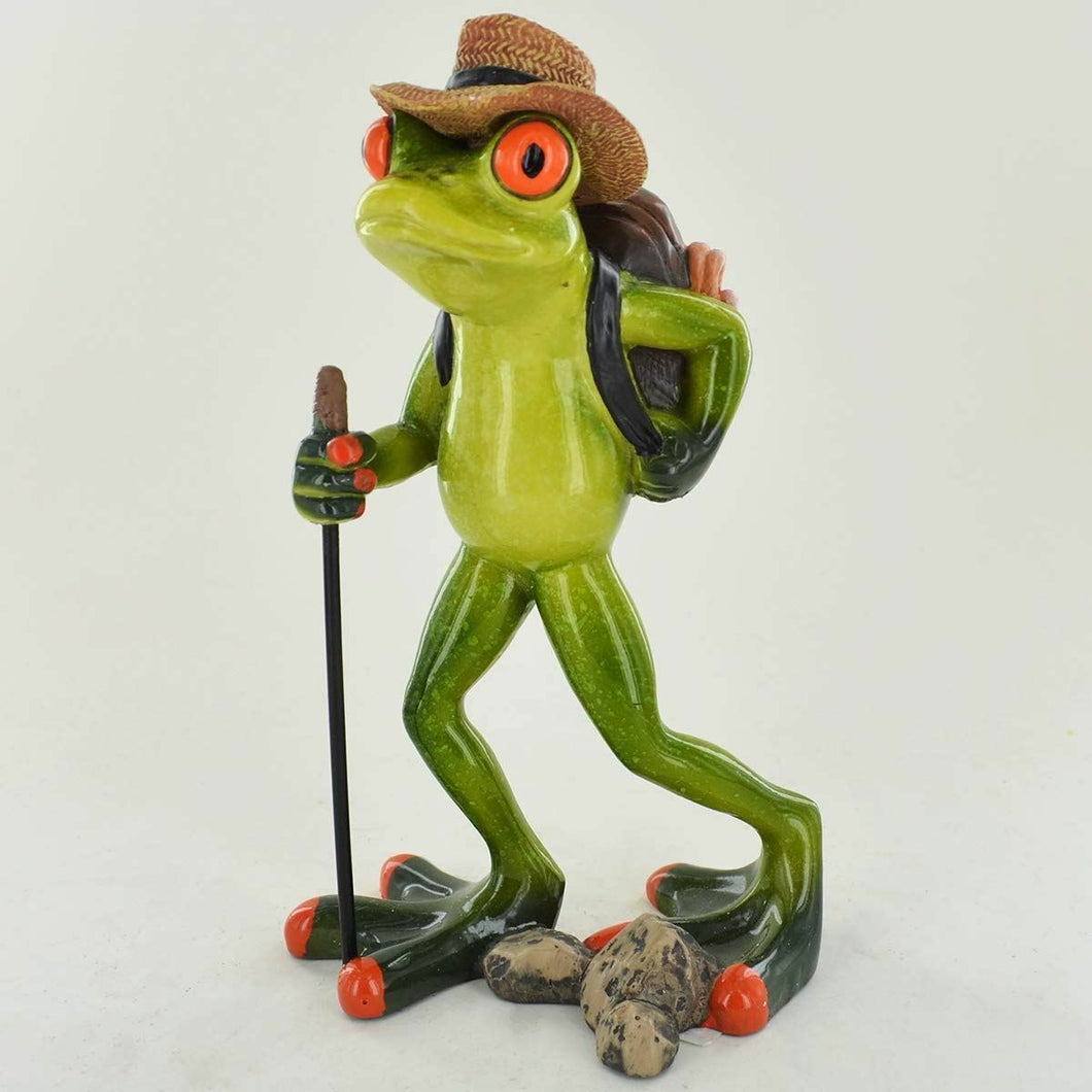 Comical Frogs Hiker Figurine Ornament Ideal Gift for a Frog Lover