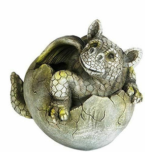 Comical Dragon Hatching Garden Ornament Sculpture Stone Statue Frostproof Gift
