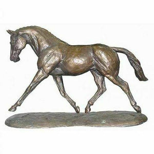Bronze Effect Figurine Trotting Warmblood Horse Statue By Harriet Glen