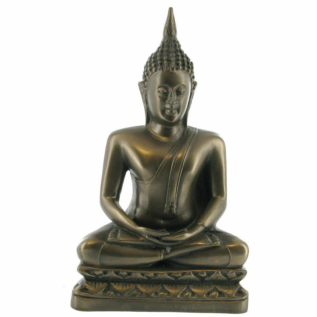 Bronze Effect Thai Buddha Sitting Figurine Statue Ornament Buddhism