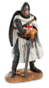 Templar Knight Holding Sword with Shield Figurine Statue Crusader Ornament