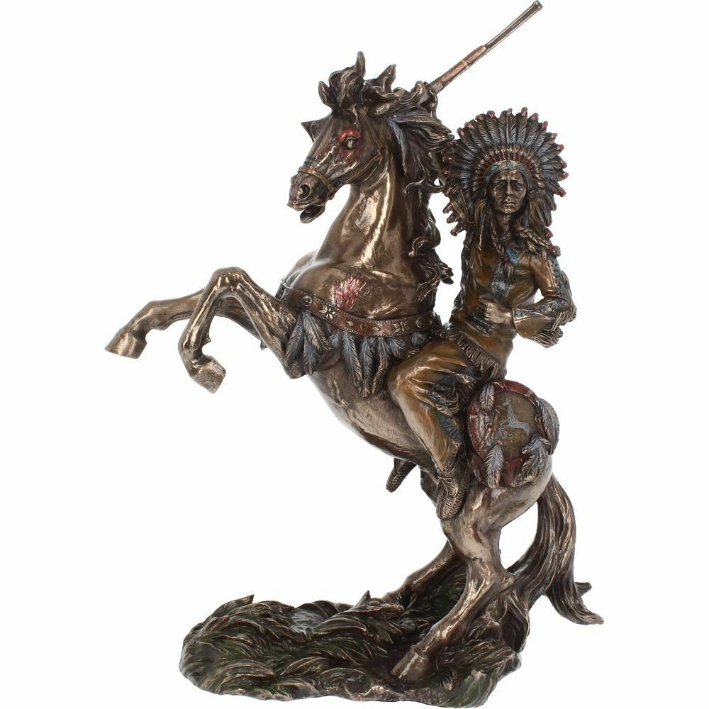 Large Bronze Effect Native American Chief Riding to War Sculpture Statue