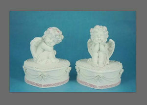 Pair of Guardian Angel Figurine Cherub Trinket Boxes Ornament Sculpture Gift