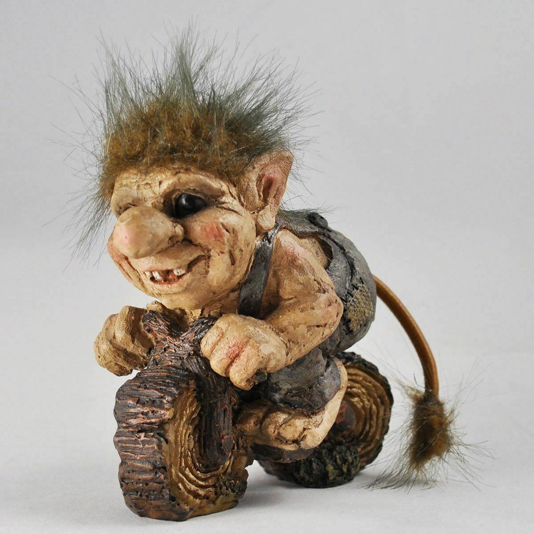 Troll Riding Bike Ornament Sculpture Figure Pixie Garden Gnome Goblin Gift