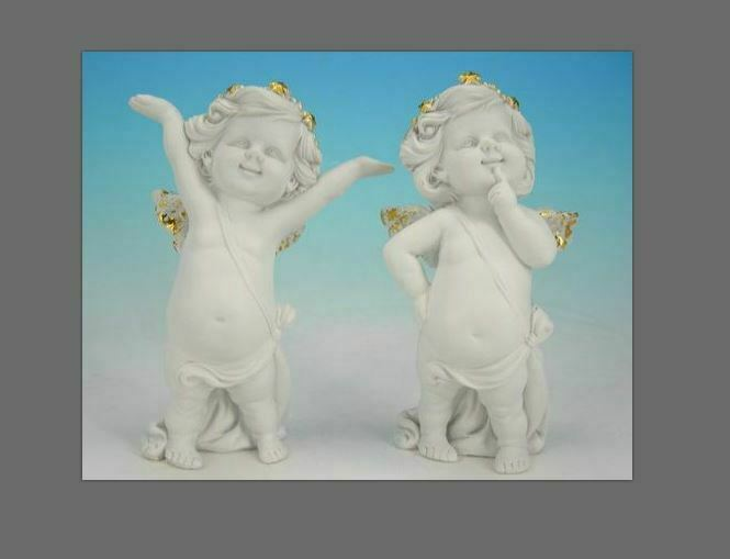 Pair of Guardian Angel Figurine Cherubs Statue Ornament Sculpture Gift