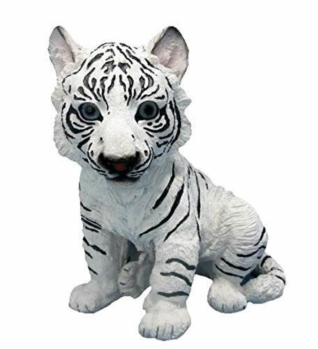 Realistic Effect Cute White Tiger Cub Statue Figurine Ornament Gifts