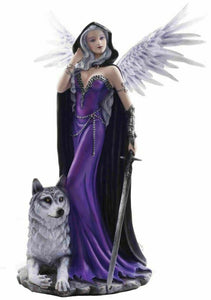 Large Fairy and Wolf Companion Sculpture Statue Mythical Creatures Figure Gift