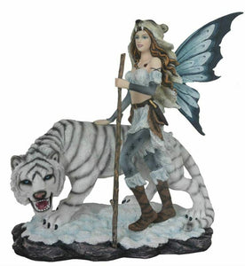 Large Fairy and White Tiger Companion Sculpture Statue Mythical Creatures Gift