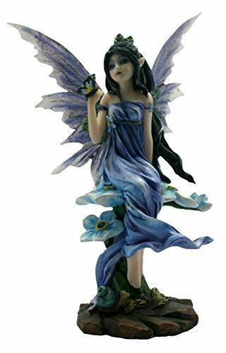 Blue Dress Fairy with Butterfly and Flowers Statuette Figurine Ornament