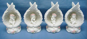 Set of Four LED Guardian Angel Figurine Cherub Statue Ornament Sculpture Gift