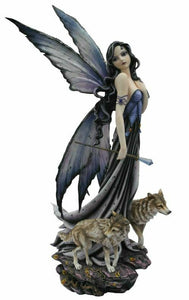 Large Fairy and Wolves Companion Sculpture Statue Mythical Creatures Figure Gift