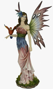 Large Fairy and Parrot Companion Sculpture Statue Mythical Creatures Figure Gift
