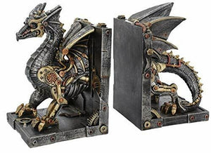 Dragon Steampunk Bookends for Study Office Ornament Statues Shelf Tidy 27cm