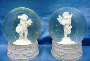 Cherub with Musical Instrument Snowglobe Ornament Water Ball One Supplied