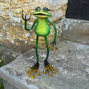 Metal Animals Green Standing Frog Garden Ornament Sculpture Lawn Decoration