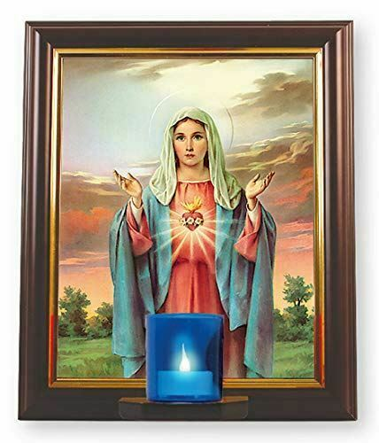 Framed Picture Sacred Heart of Mary Religious Wall Plaque Decoration with Light