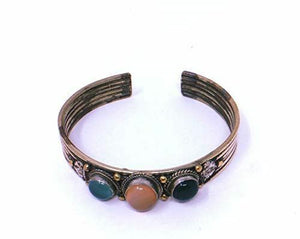 Silver Metal Antique Effect Three Stones Tibetan Healing Bangle