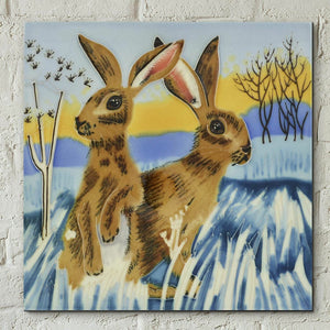 Bright New Day Decorative Hare Ceramic Tile by Judith Yates Wall Art Gift Decor