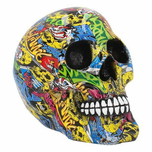 Colourful Skull Graffiti Ornament Figure Figurine Statue or Gothic Gift