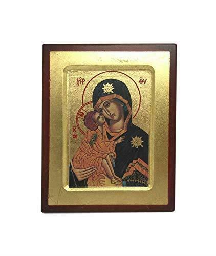 Virgin Mary and Baby Jesus Icon Style Religious Wall Plaque Decor