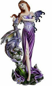 Purple Standing Fairy with Dragon Display Figurine Statue Ornament