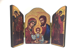 Holy Family Mary Jesus Joseph Triptych Icon Style Religious Wall Plaque Decor