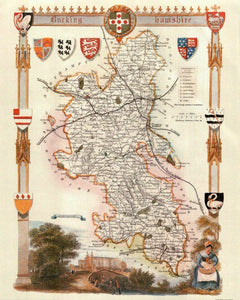Buckinghamshire Antique Map Card Backed 16X20""