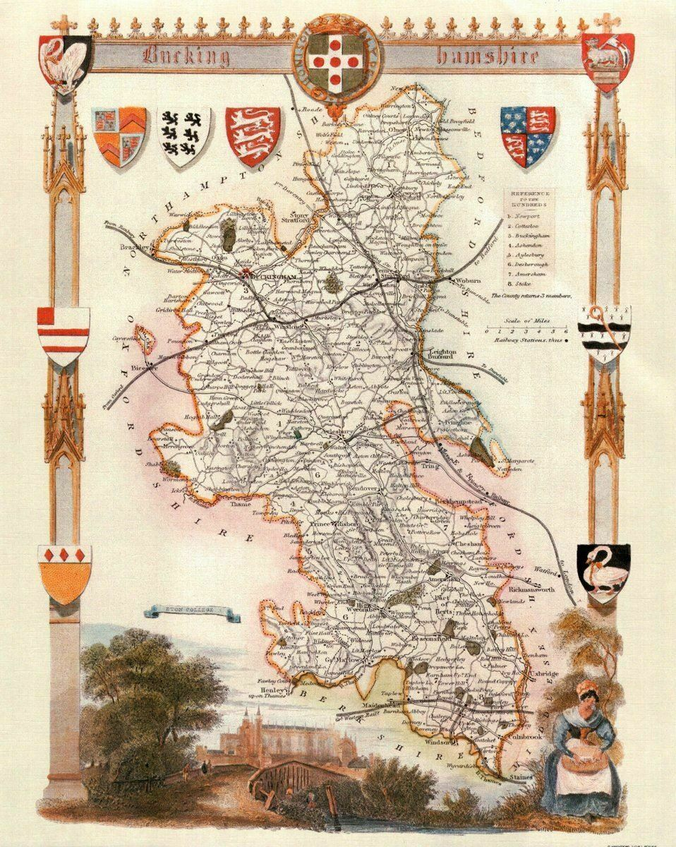 Buckinghamshire Antique Map Card Backed 16X20