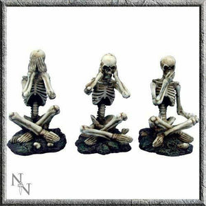 Set of Three Wise Skeletons Gothic Figurines Ornaments 8.5 cm