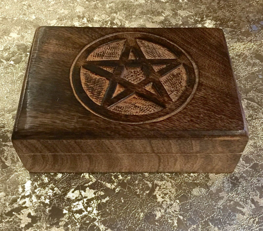 Antique Effect Pentagram Tarot Cards Box Wiccan Pagan Decor