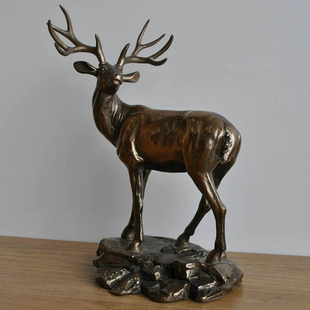 Standing Deer Bronze Sculpture Stag Gift Sculpture Figure Ornament 28 cm